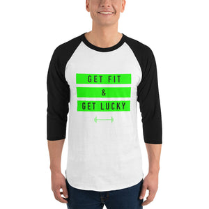 Green Get Fit & Get Lucky™ 3/4 sleeve raglan shirt