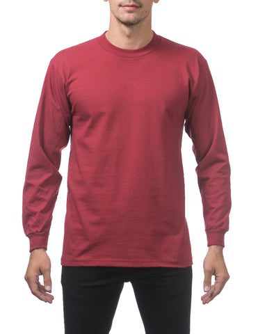 Pro Club Heavy Weight  Long Sleeve T Shirts BURGUNDY
