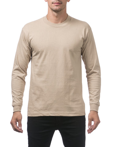 Pro Club Heavy Weight  Long Sleeve T Shirts KHAKI