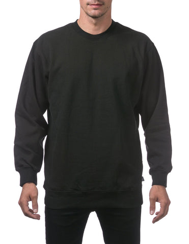 PRO CLUB Heavyweight Crew Neck Fleece Pullover Sweater (13oz) – BLACK