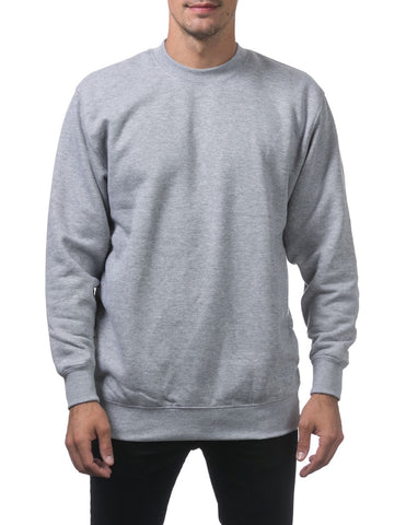 PRO CLUB Heavyweight Crew Neck Fleece Pullover Sweater (13oz) – LIGHT GREY