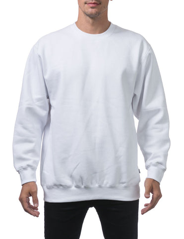 PRO CLUB Heavyweight Crew Neck Fleece Pullover Sweater (13oz) – WHITE