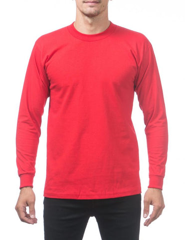 Pro Club Heavy Weight  Long Sleeve T Shirts RED