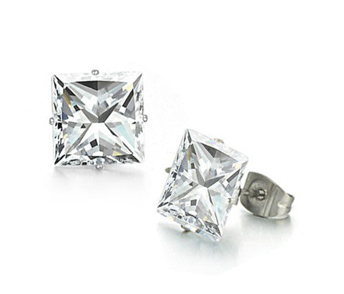 6mm Clear Stud Earrings