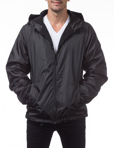 Pro Club Fleece Lined Windbreaker Jacket – BLACK