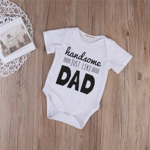 HANDSOME JUST LIKE DAD ONESIE, Rompers,- Ryan N Riley