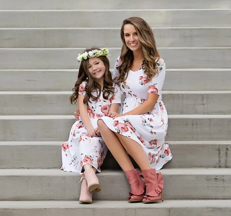 MOMMY AND ME WHITE FLORAL DRESS