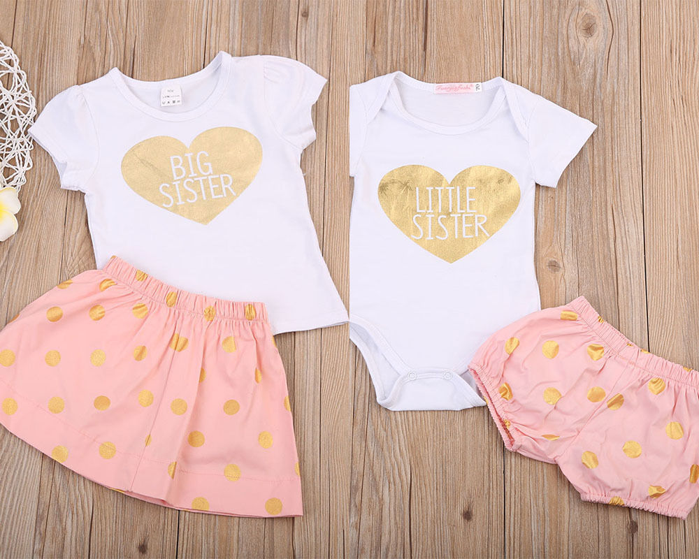 BIG & LITTLE SISTER GOLDEN HEART MATCH OUTFITS, Girls Clothing Set,- Ryan N Riley