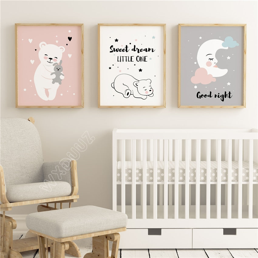 WXDUUZ Baby Moon Animal Nursery Posters and Prints Wall Art Canvas Painting Decorative Picture Nordic Style Kids Decoration A135, ,- Ryan N Riley