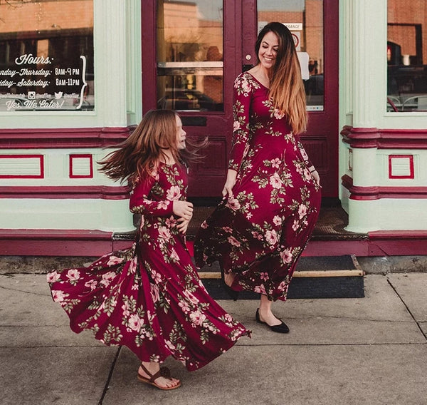 MOMMY AND ME RED FLORAL LONG DRESS