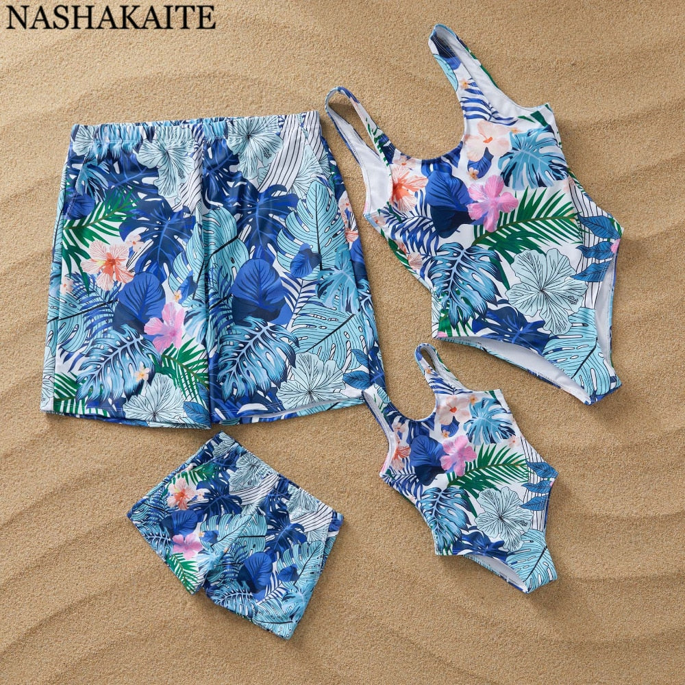 FAMILY BLUE FLORAL SWIMWEAR