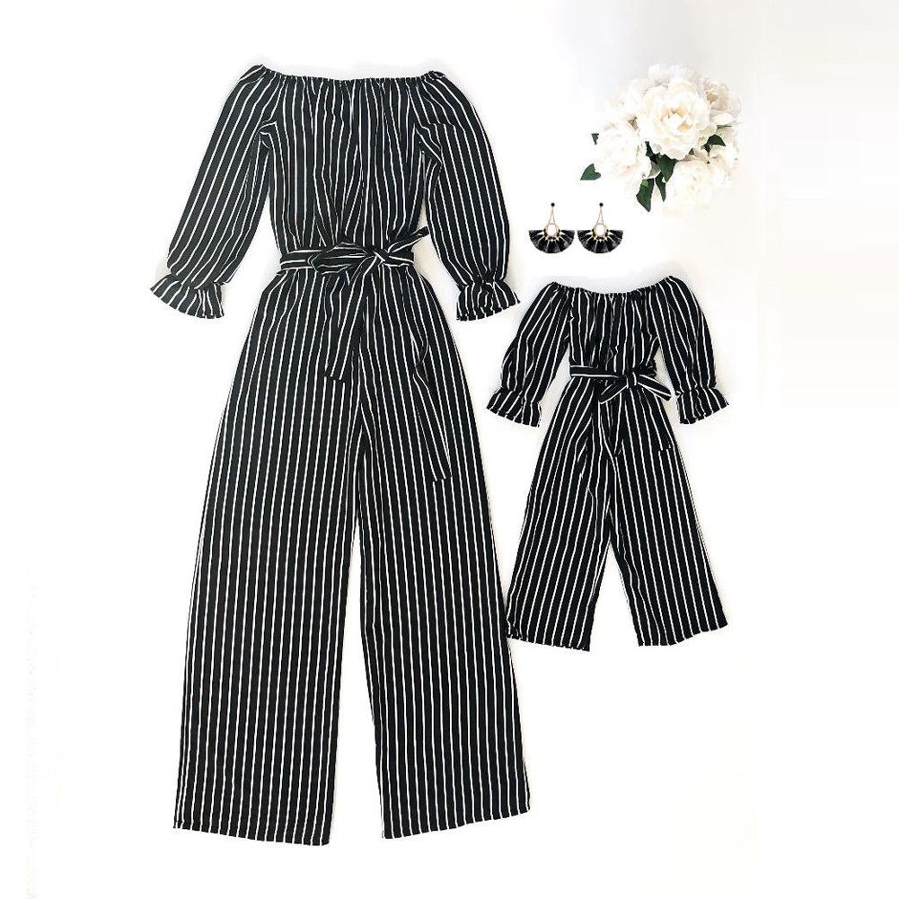 MOMMY AND ME STRIPED JUMPSUITS