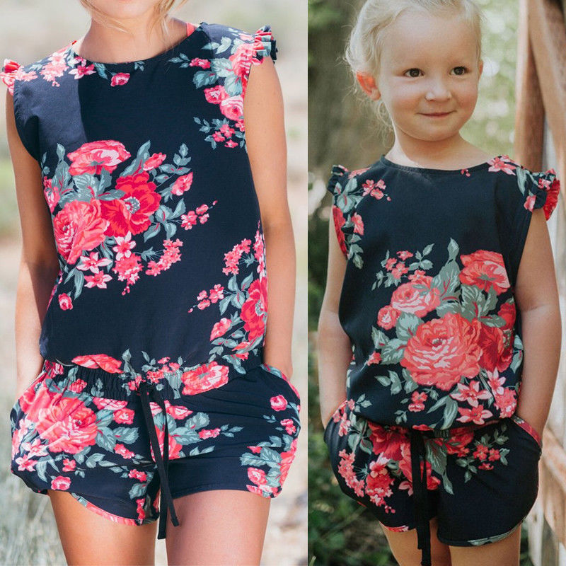 MOMMY AND ME BLACK FLORAL JUMPSUITS