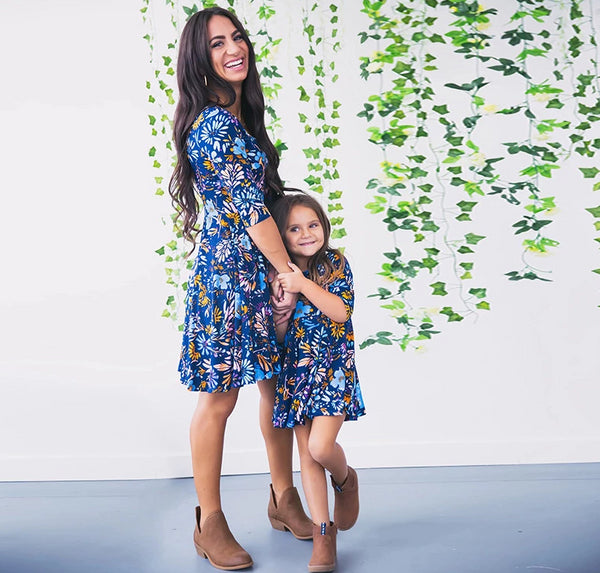 MOMMY AND ME BLUE FLORAL DRESS
