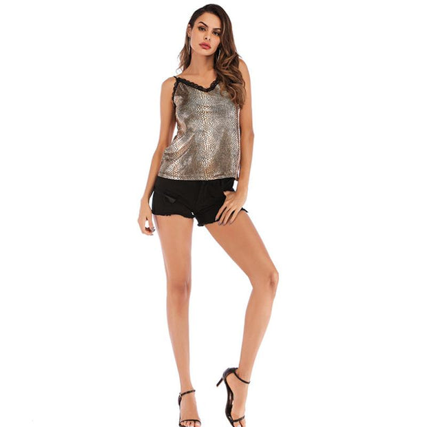 New Designer Women's Vest Lace V-neck Fashion Snake Print Bottom Wear - Innolv