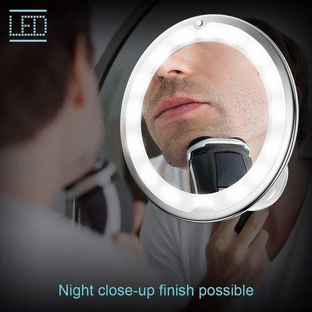 Flexible Light Up Mirror 10X magnification 360-Degree Rotating Makeup Mirror - Innolv