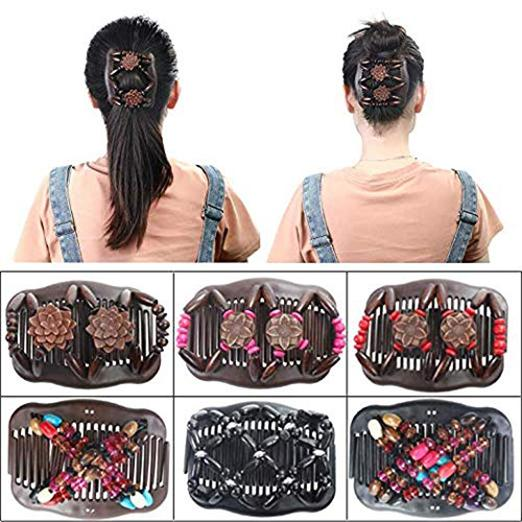 Stretch Combs Magic Hair Clips - Stretchy EZ Fancy Magic Double Comb, Perfect French Twist Holder