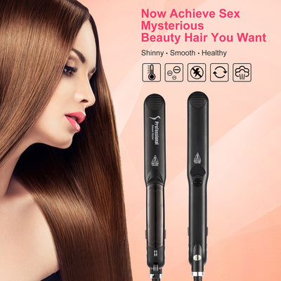 Steam Straighteners for Hair,INNOLV Black Hair Straightening Iron Professional Ceramic Vapor Flat Iron Dual Voltage,360°Swivel Cord, Salon Fast Tourmaline For Dry & Wet Hair,ETL Approval - Innolv