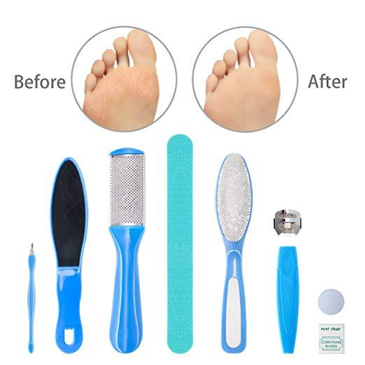 8 in 1 Professional Pedicure kit/set Pedicure Foot Rasp Foot File and Callus Remover Sided Remove Set Best Foot Care - Innolv