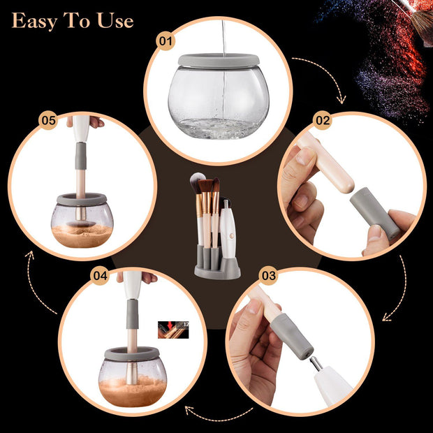 Spinning make up Brush Cleaner with 360 Rotation Spinner Automatic Wash and Dry-White by INNOLV - Innolv