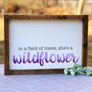 "She's a Wildflower Medium Shelf Sitter Sign | 9""x13"""