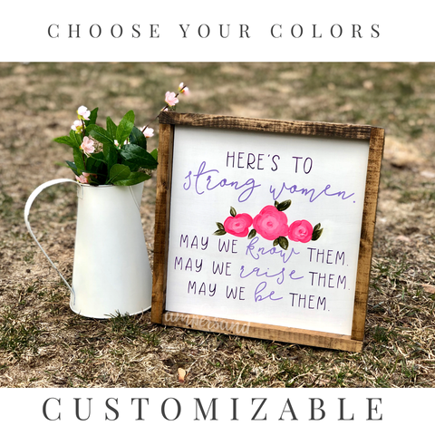 "CUSTOMIZABLE | Strong Women Large Shelf Sitter Sign | 13""x13"""