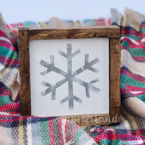 "Winter Snowflake Mini Shelf Sitter Sign | 7""x7"""