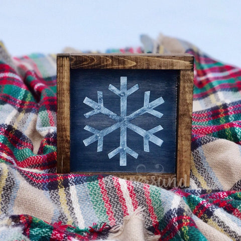 "Distressed Rustic Winter Snowflake Mini Shelf Sitter Sign | 7""x7"""