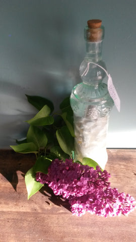fresh lilac lays in front of glass bottle. Bottle contains scented pomade steeping in grain alcohol.