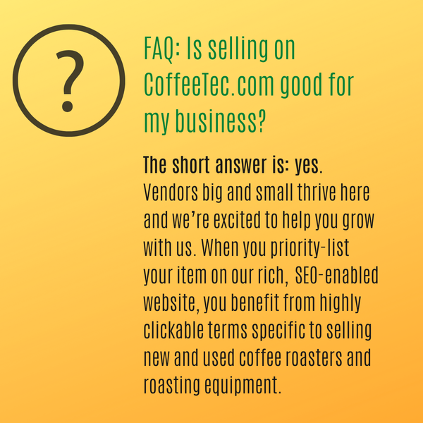 Benefits for selling on CoffeeTec.com