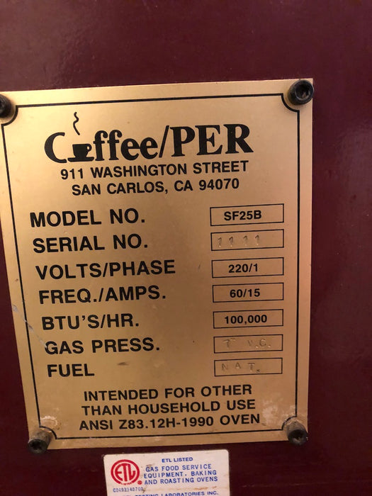 10 kilo: 25 lb San Franciscan Roaster Machine - used