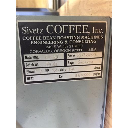 15 kilo: Used Sivetz 1/4 Bag Roaster
