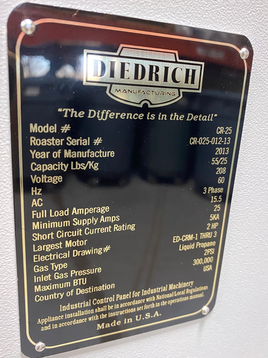 25 kilo Diedrich CR-25 Roaster - Outstanding Condition - Used