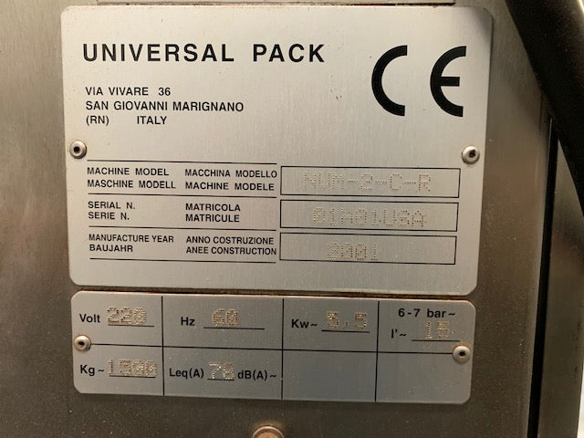 Universal Pack Filter Pouch Machine - Used