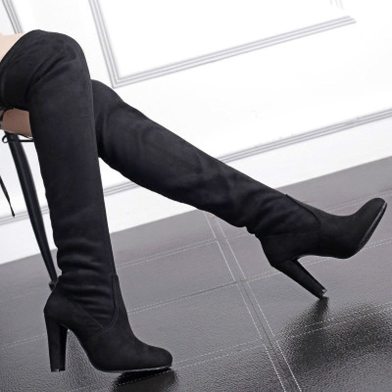 b248d4b470f ... Women Stretch Slim Thigh High Boots Sexy Fashion Over The Knee High  Heels Size 34- ...