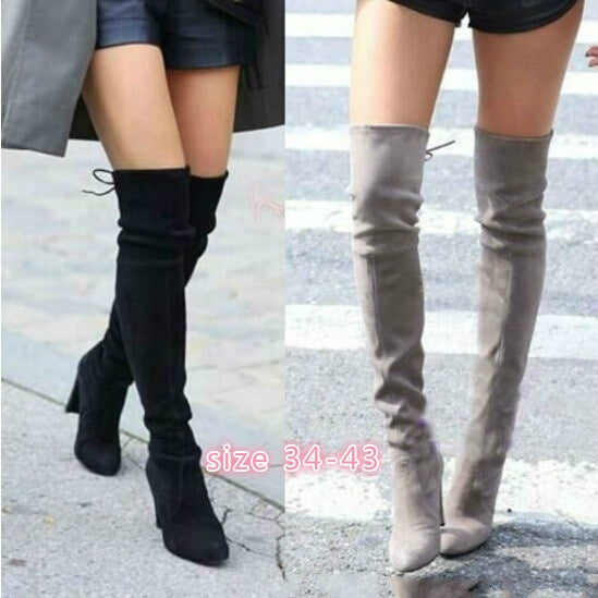d140506fa64d Women Stretch Slim Thigh High Boots Sexy Fashion Over The Knee High Heels  Size 34- ...