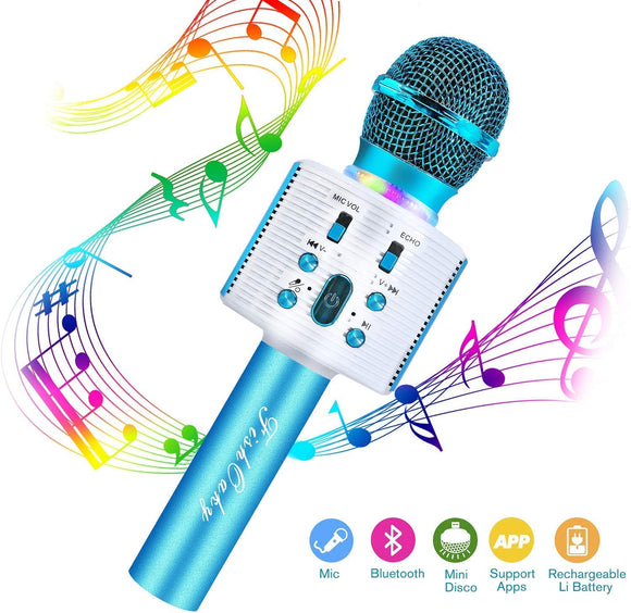 FishOaky Wireless Bluetooth Karaoke Microphone, Portable Kids Microphone Karaoke Player Speaker with LED & Music Singing Voice Recording for Home KTV Kids Outdoor Birthday Party