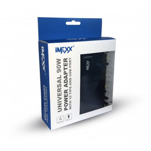 iMEXX Universal 90W Laptop Power Adapter with 10 Tips and USB Port