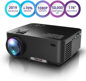 TENKER Mini Projector 2400 Luemns LED Full HD Video Projector, Compatible with 1080P HDMI, Fire TV Stick, VGA, USB, AV for Home Theater Entertainment, Party and Games (Black)