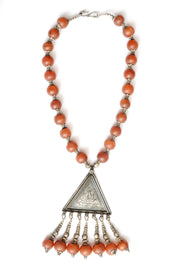 Dealova Amber Carnelian Silver Necklace