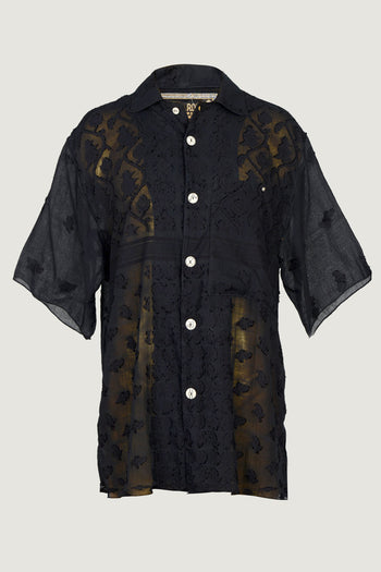 Frank - Cotton Featherlight Jacquard Short Sleeve Men's Shirt