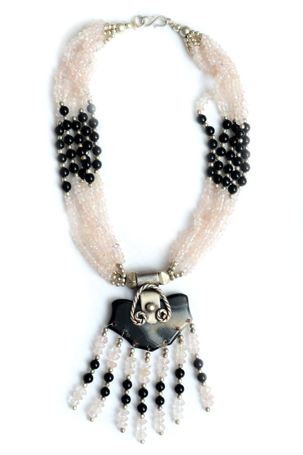 Carrington Moonstone and Black Onyx Necklace