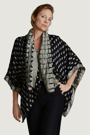 Juliette Silk Cape - Short Hand Cut Silk Jacquard
