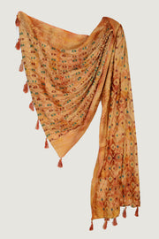 Russelia - Viscose Satin Shiny Hand Cut Block Printed Shawl