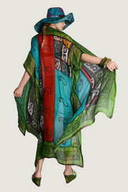 JUNE LONG CAPE - Rayon Chiffon with hand-block print and Hand Made Patchwork