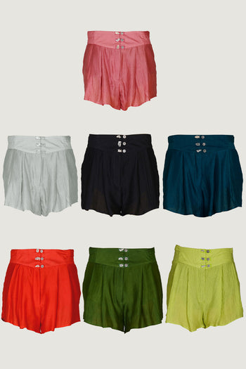 Marta Silk Cotton Pleated Shorts