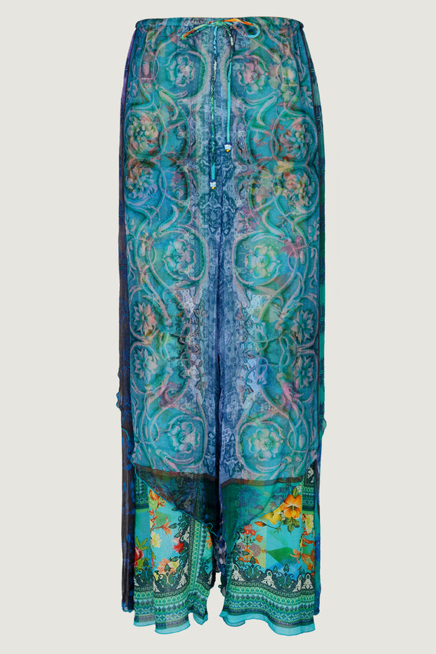 Trinity Double Panel Pants - Georgette & Chiffon Floral Digital Print