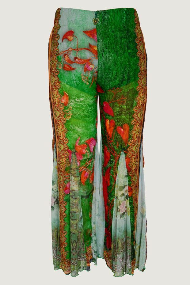 MARYNKA Gerogette Digital Print Pants- Cropped Flared Floral Print