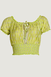 Rylee Hand Cut Silk Top With Elastic Waist & Shoulder