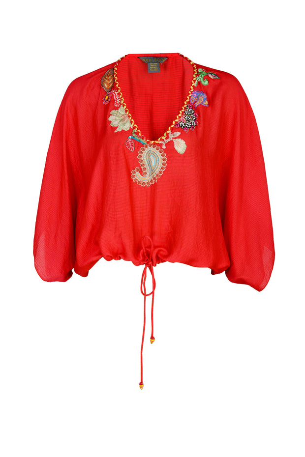 Ali Top - Woven Silk with Applique